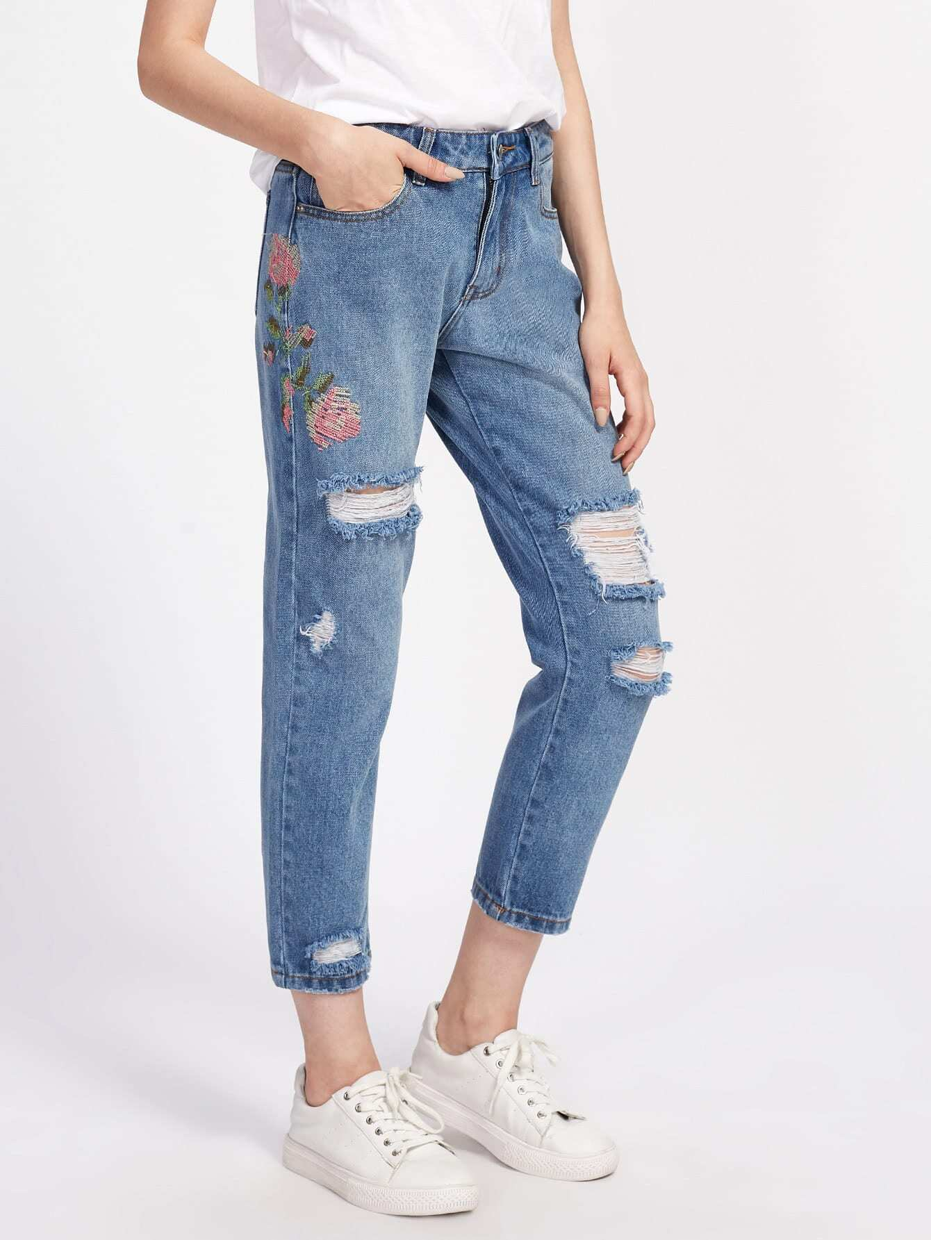 Flower Embroidered Distressed Jeans straight leg distressed embroidered jeans