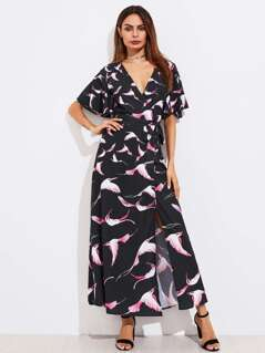 Flutter Sleeve Bird Print Surplice Wrap Dress