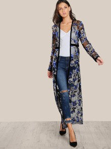 Flower Embroidered See Through Maxi Kimono