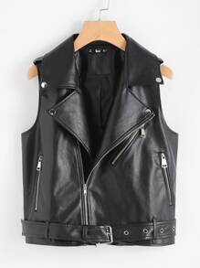 Belted Hem Faux Leather Sleeveless Biker Jacket