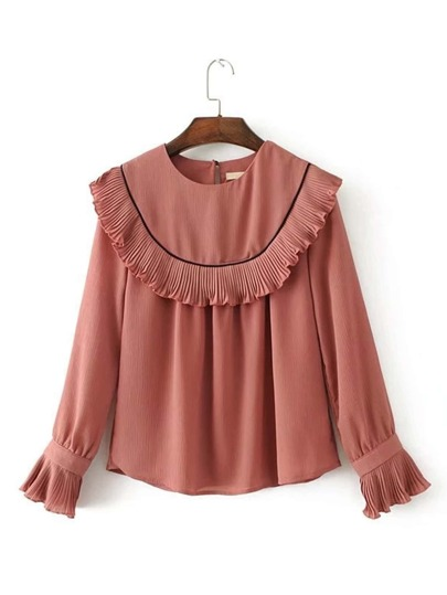Pleated Detail Flounce Blouse
