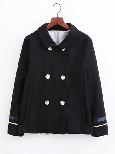 Star Embroidery Pea Coat