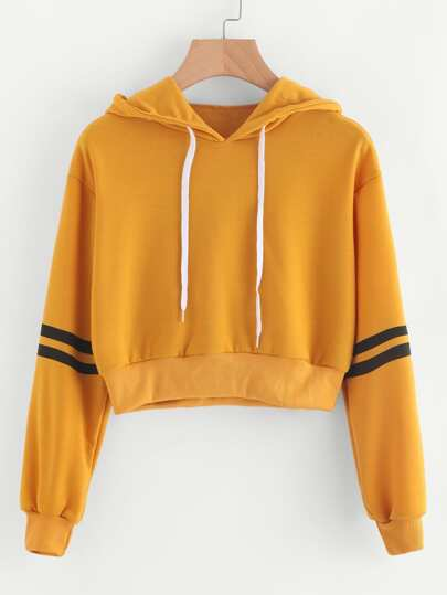 Varsity-Striped Drawstring Crop Hoodie