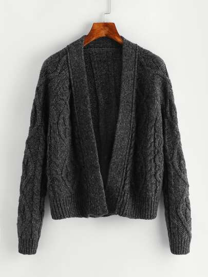 Open Front Ribbed Knit Sweater