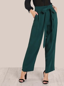 High Rise Pleated Pants GREEN
