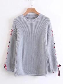 Suéter de manga con cordón