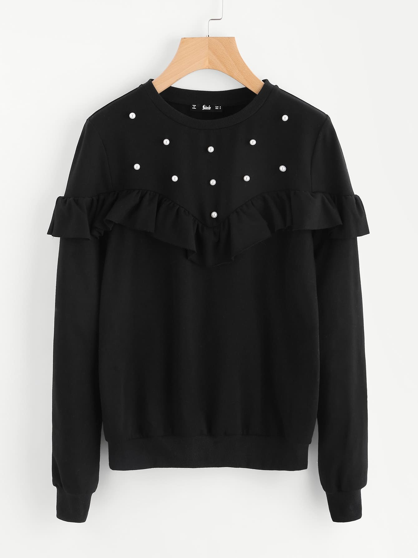 Pearl Beading Frill Detail Sweatshirt pearl detail frill off shoulder dress
