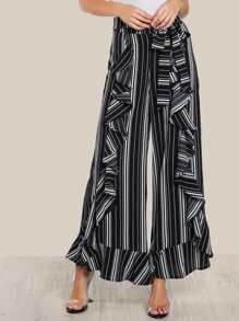 Tie Waist Ruffle Front Striped Pants