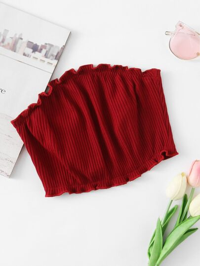 Frill Trim Ribbed Bandeau Top
