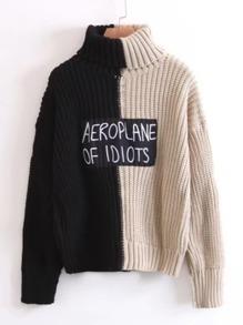 Sweater col de tortue à deux tons avec pièce du slogan