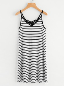Tie Up V Back Striped Cami Dress