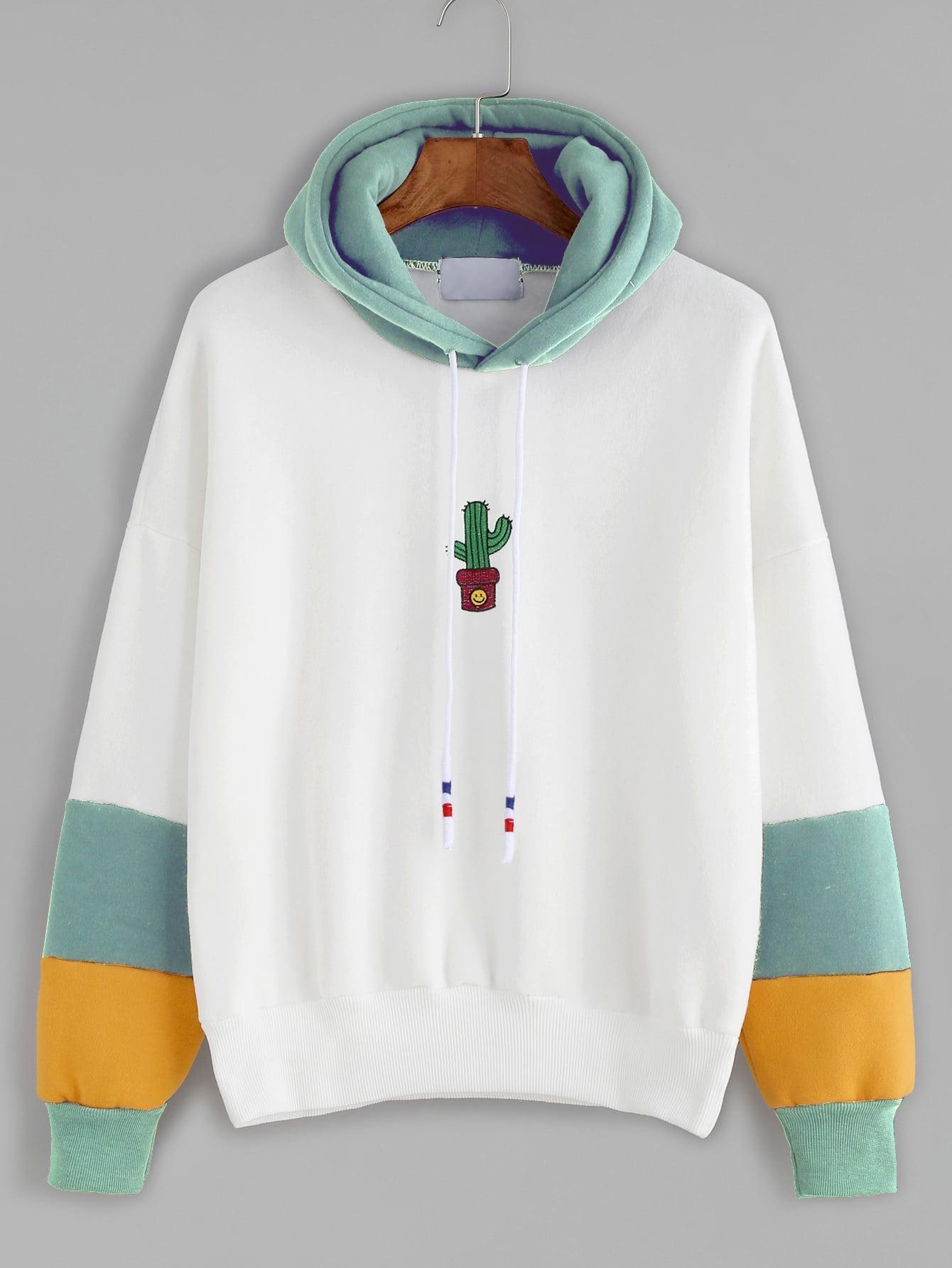 Contrast Cactus Embroidery Drawstring Hooded Sweatshirt alien print drop shoulder hooded drawstring sweatshirt