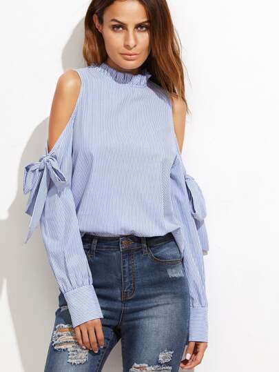 Vertical Striped Frill Collar Tie Detail Blouse