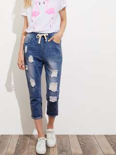 Drawstring Waist Turn Up Hem Destroyed Jeans