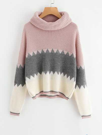 Roll Neck Color Block Jumper