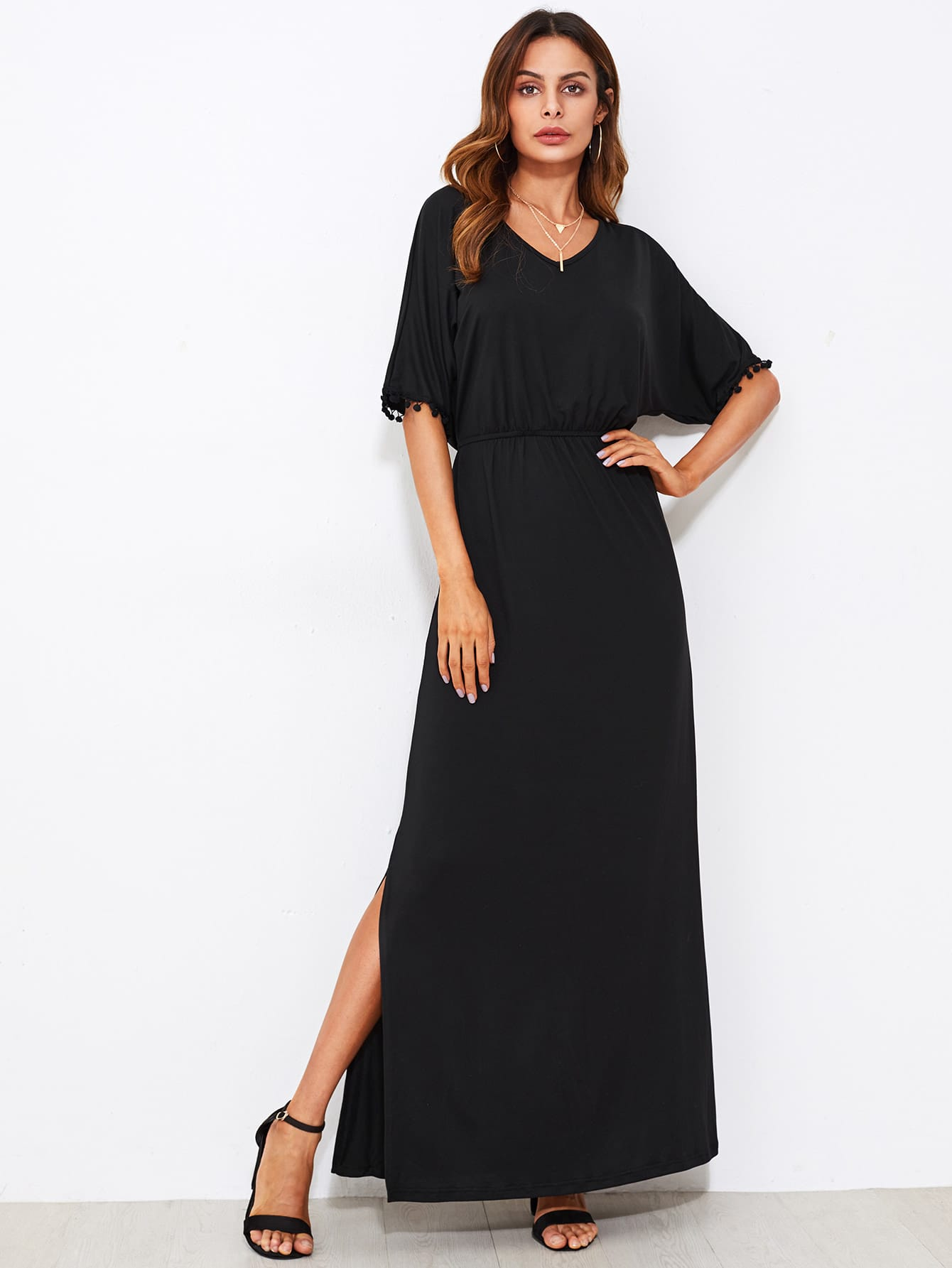 Pom Pom Trim Side Slit Kaftan Dress dress170825302