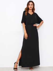 Pom Pom Trim Side Slit Kaftan Dress
