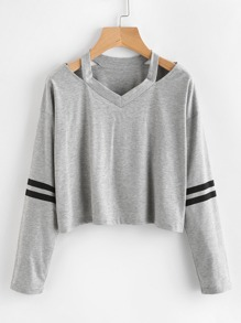 Cut Out Neck Stripe Sleeve Tee