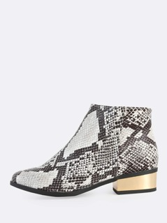 Snake Print Zip Up Booties SNAKE