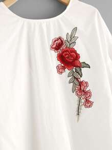 Embroidery Patch Tiered Flute Sleeve Top pictures