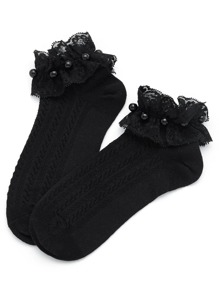 Lace Trim Faux Pearl Detail Socks