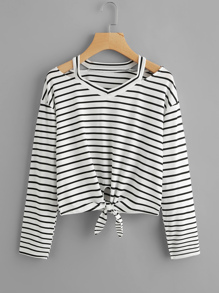 Ripped Neck Knotted Hem Striped Tee