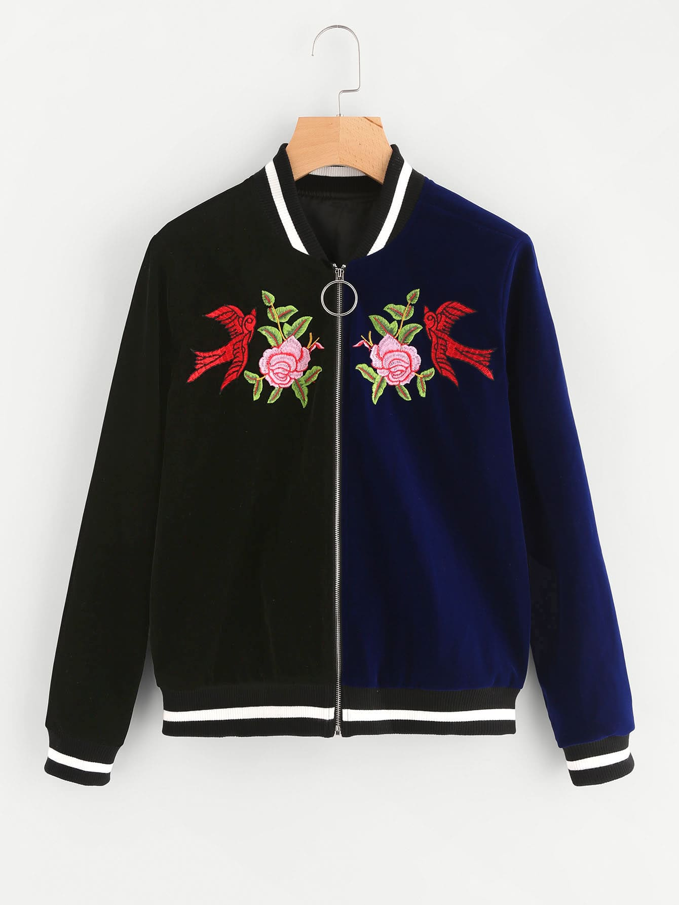 Striped Trim Embroidered Velvet Bomber Jacket