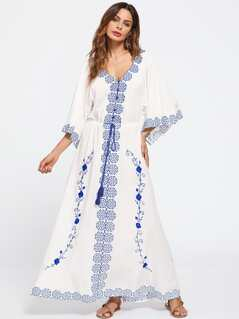 Flower Embroidered Tasseled Tie Waist Kimono Sleeve Dress