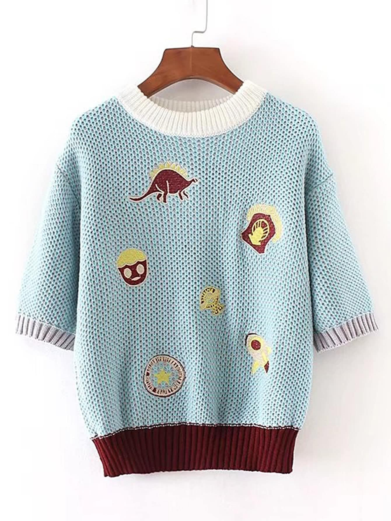 Contrast Binding Ribbed Trim Embroidery Sweater