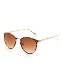 Leopard Frame Oval Lens Sunglasses
