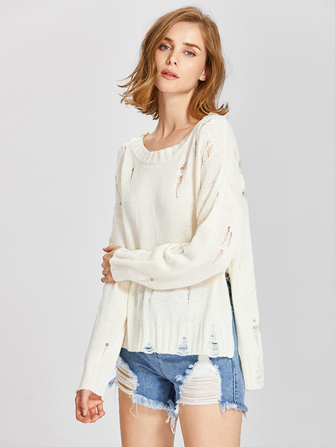 Slit Stepped Hem Destroyed Jumper sweater170704457