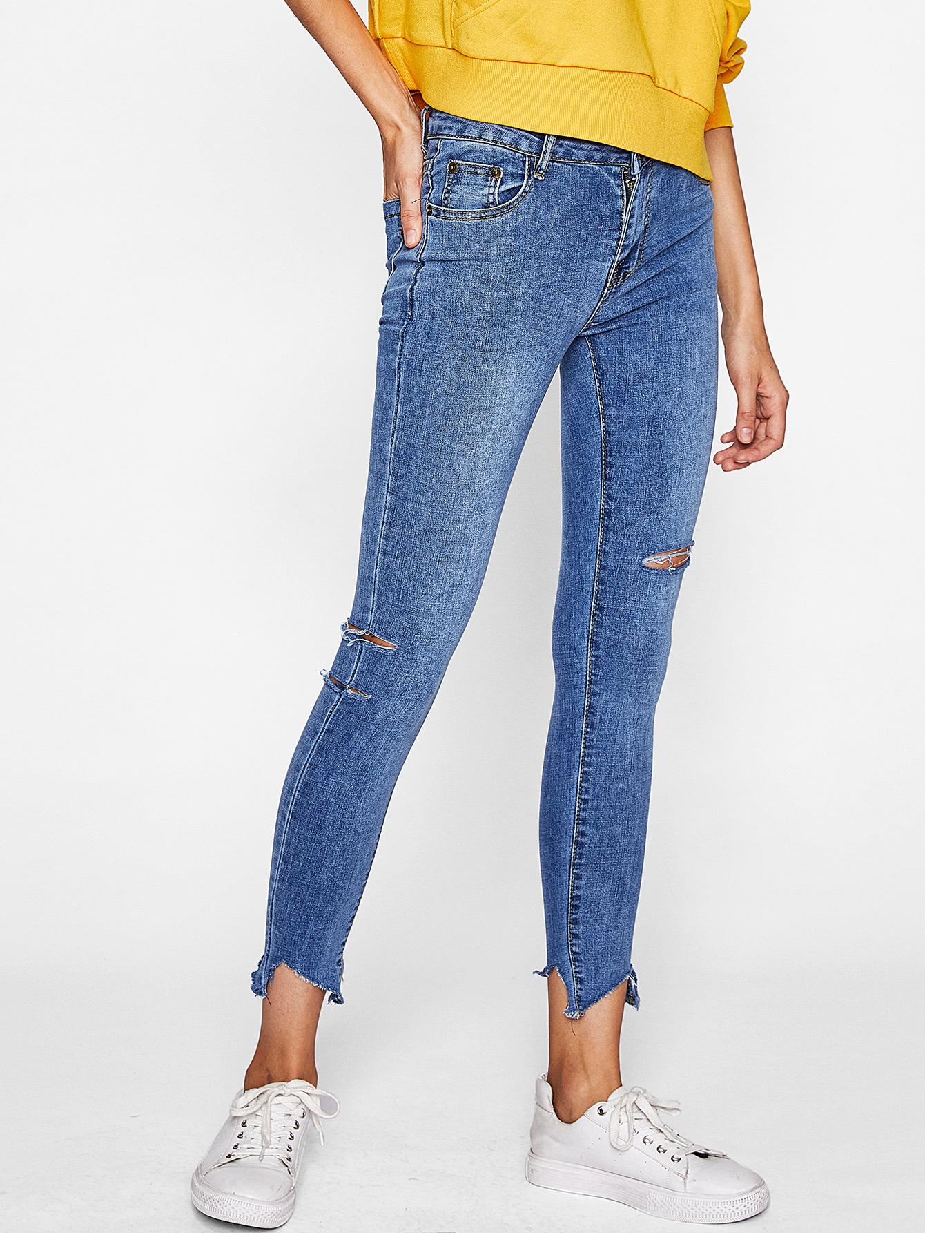 Rips Detail Raw Hem Jeans