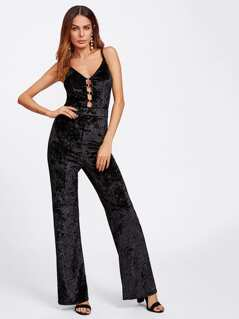 O-Ring Laddering Front Crushed Velvet Cami Jumpsuit