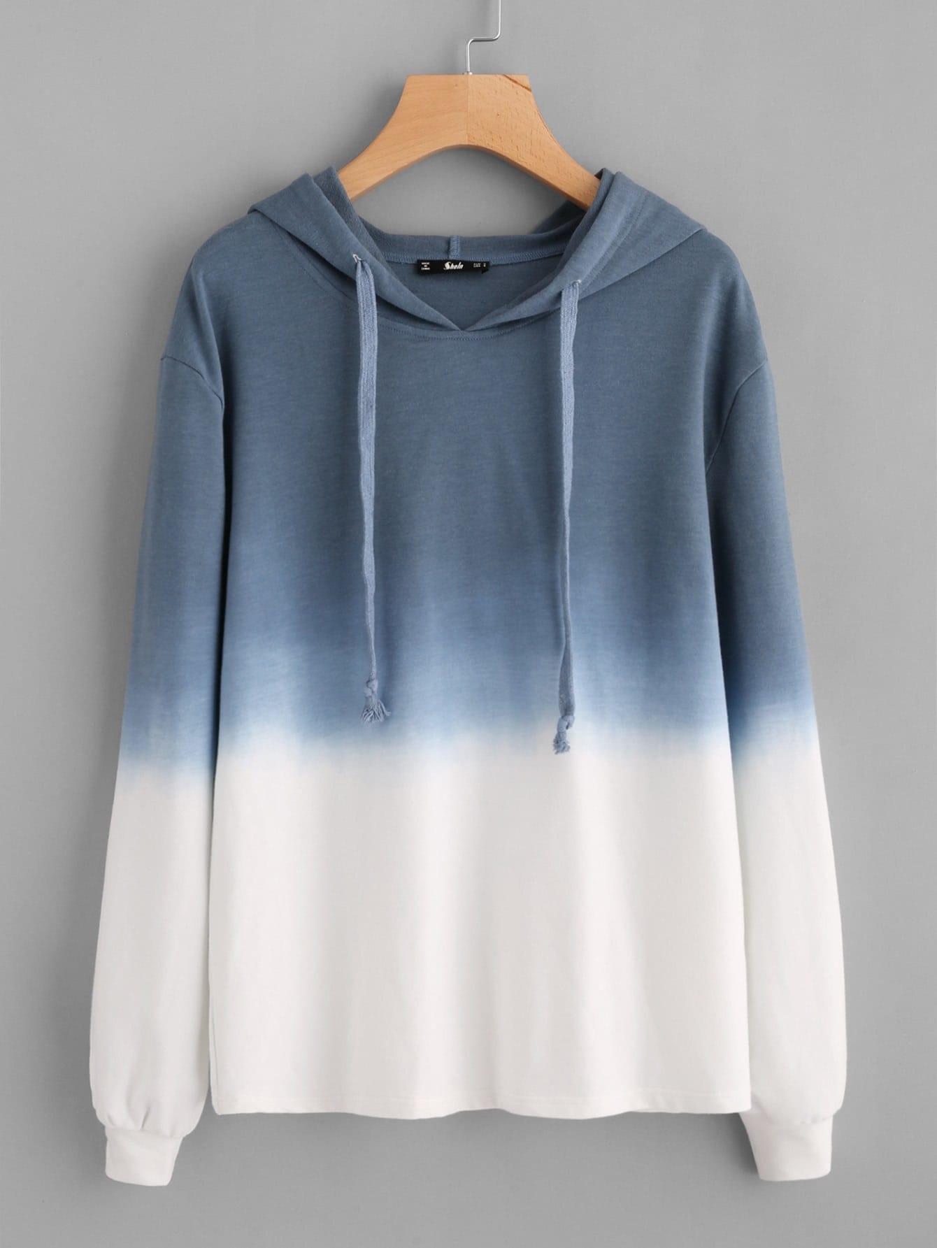 Ombre Drop Shoulder Drawstring Hoodie two tone drop shoulder sweatshirt