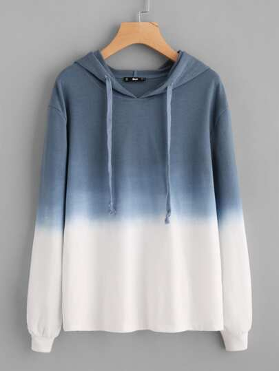 Ombre Drop Shoulder Drawstring Hoodie