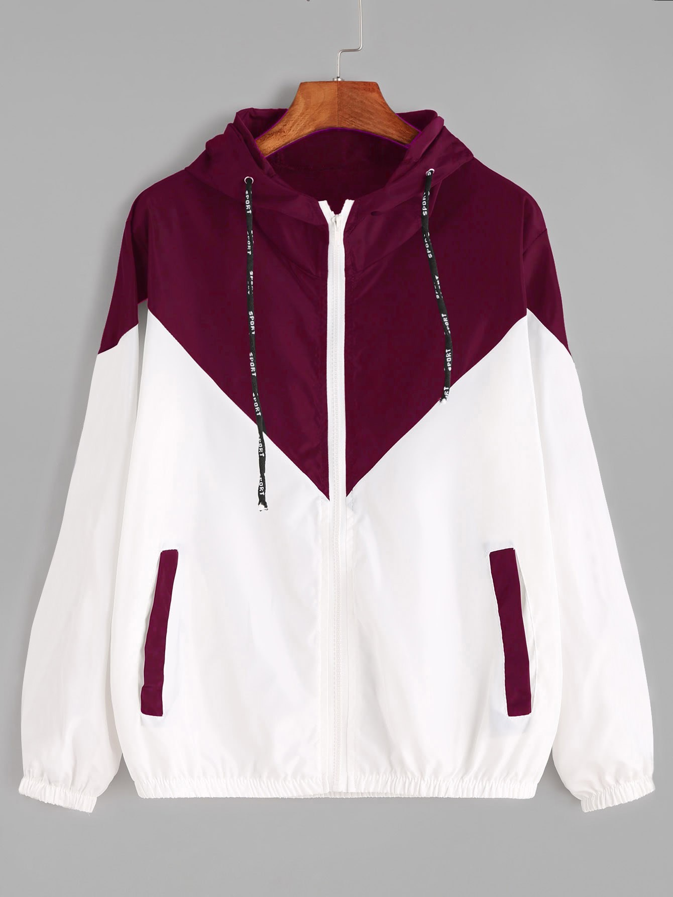 Color Block Drawstring Hooded Zip Up Jacket