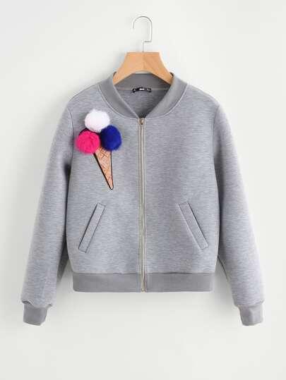 Pom Pom Sequin Ice Cream Patch Heather Knit Jacket