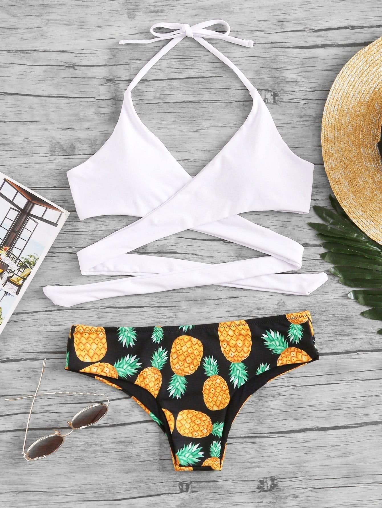 Фото Pineapple Print Wrap Bikini Set checker knot bikini set
