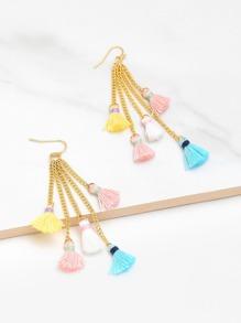 Mini Tassel Chain Design Drop Earrings
