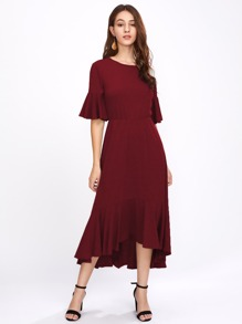 Trumpet Sleeve Frill Hem Marled Dress