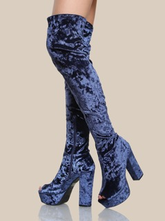 Peep Toe Velvet Thigh High Boots NAVY