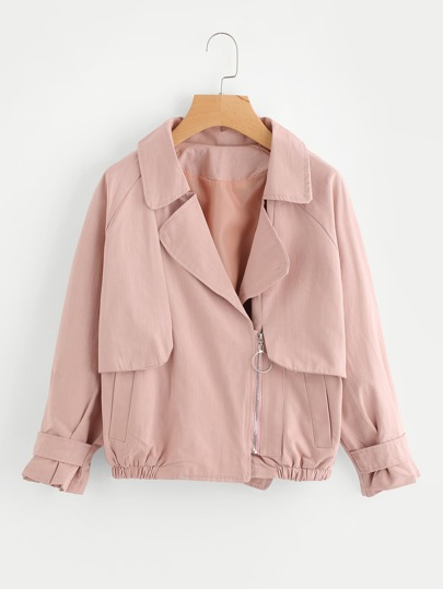 Fold Over Side Zipper Jacket