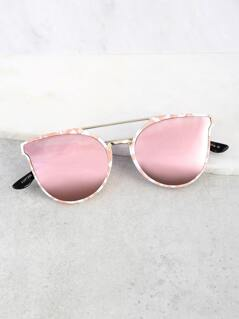 Print Double Bar Sunnies ROSE GOLD