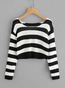 Sweater à rayures contrastées
