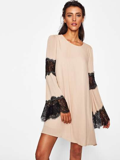 Contrast Scallop Eyelash Lace Double Layer Dress