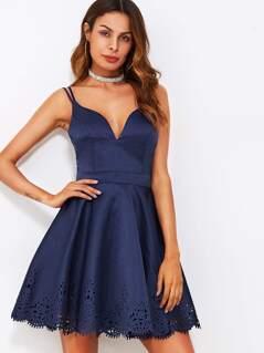 Scallop Laser Cut Double Strap Fit & Flare Dress