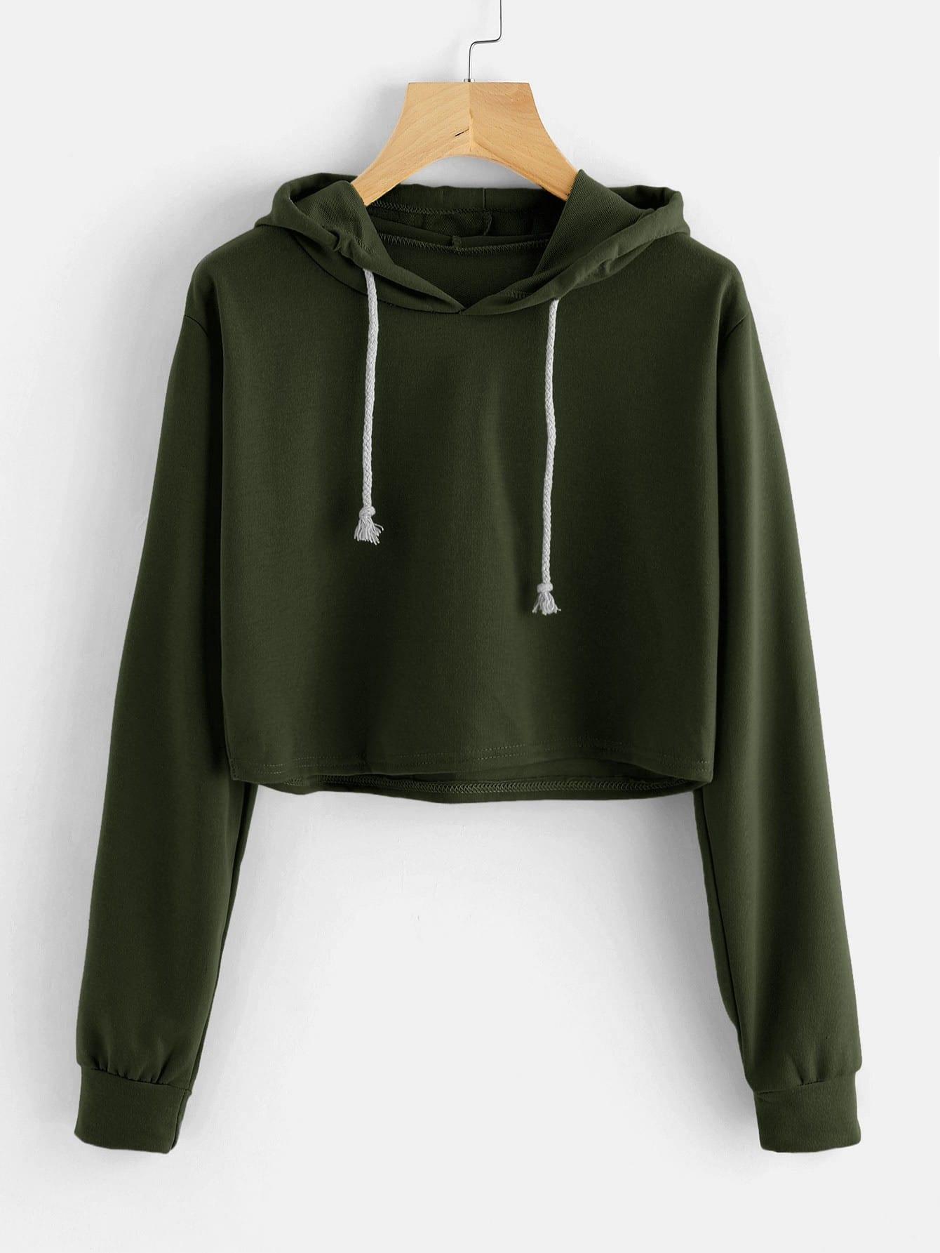 Hooded Drawstring Crop Sweatshirt alien print drop shoulder hooded drawstring sweatshirt