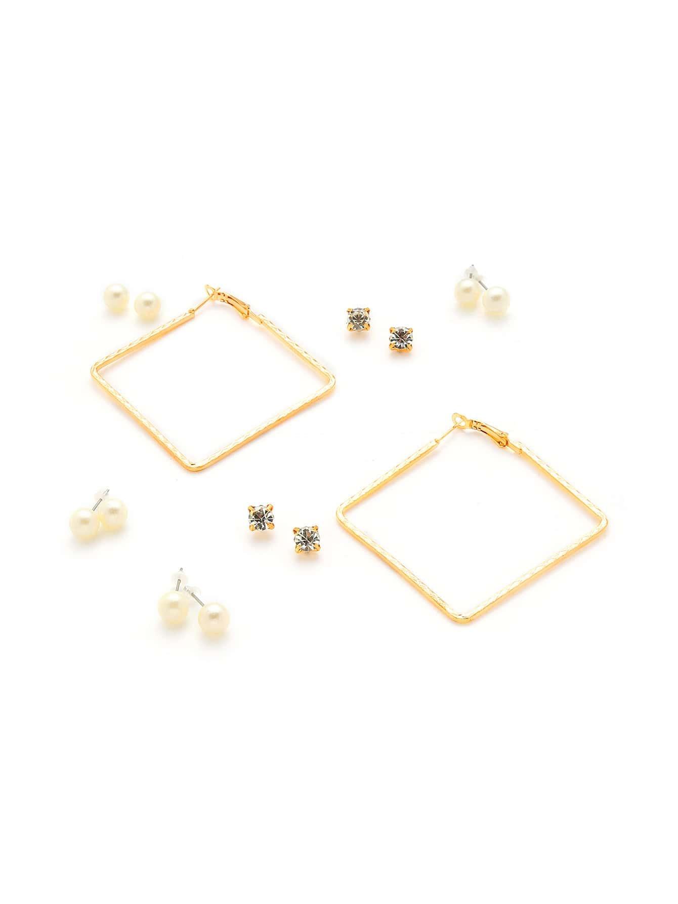 Faux Pearl & Rhinestone Design Earring Set