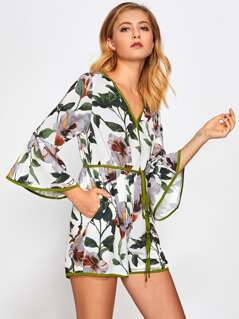 Contrast Binding Trumpet Sleeve Botanical Wrap Playsuit