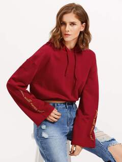 Embroidered Fluted Sleeve Crop Hoodie